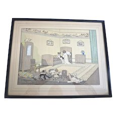Sweetest FRENCH Hand Colored Engraving TERRIER DOG, Child & DOLL Praying Toys Teddy Fernand Maissen PARIS France PRINT