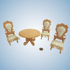 Antique GERMAN DOLL HOUSE Miniature SCHNEEGAS Silk Upholstered Chairs & Table