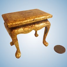 Artisan SIGNED Dollhouse Miniature Gilt GOLD Leaf Wooden TABLE