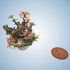 Artisan Handmade Dollhouse Miniature Paper FLOWER Bouquet in Planter