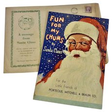 1932 Santa Claus CHRISTMAS Activity Department Store Giveaway Book w Envelope