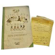 RARE 1st American print Edition Kate GREENAWAY 'Little Ann A Book' Engraved & Printed Edmund Evans