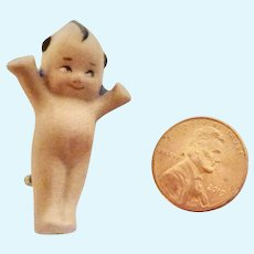 "1.75"" Miniature KEWPIE Artisan Bisque DOLL Pin Brooch"