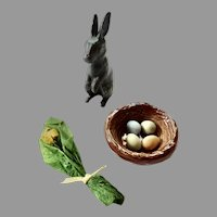 Easter Artisan DOLLHOUSE Miniatures ~Eggs in Nest, Pewter Bunny, yellow Tulip flowers