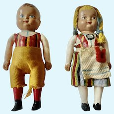 Rare CELLULOID Vintage Hand Painted German Dollhouse Miniature DOLLS