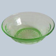 Hocking  Glass Circle Depression Green  Berry Bowl