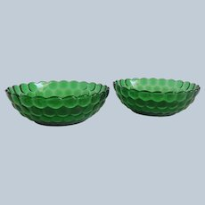 Two Anchor Hocking Forest Green Bubble Cereal Bowls