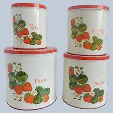 Four Cheinco Strawberry Tin Kitchen Canister