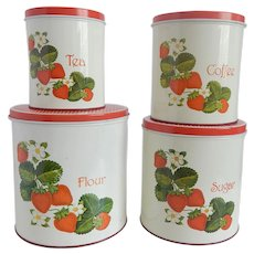 Four Cheinco Strawberry Tin Kitchen Canister