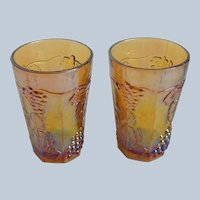 Two Indiana Glass Harvest Gold Juice Glasses