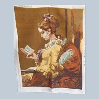 Young Woman Reading A Book Needlepoint