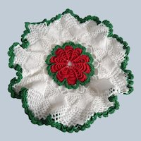Handcrafted Crocheted Doilie With a Red Flower