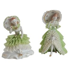 Two Lace Lady Figurines Japan