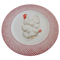 The Haldon Group Devonshire White Rooster and Hen PLate