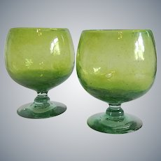 Two Mexican Blown Glass Brandy Snifters