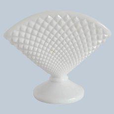 Westmoreland English Hobnail Milk Glass Fan Vase