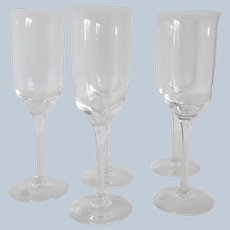 Five Wedgwood Crystal Portia Champagne Flutes