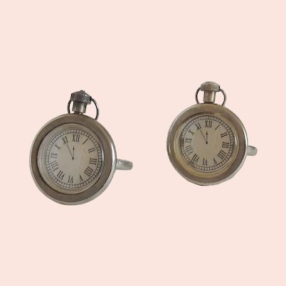 Two Silverplated Pocket Watch Napkin Rings