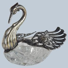 Crystal and Silverplate Swan Master Salt or Candy Dish