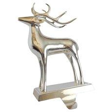 Pottery Barn Silver Finish Reindeer Christmas Stocking Holder