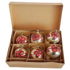 Six  West Germany Mercury Christmas Ornaments