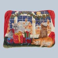 Christmas Needlepoint Cat Throw Pillow