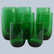 8 Anchor Hocking Forest Green Tumblers
