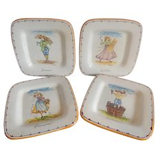 Set Of Four Season Wall Plates Deruta Italy