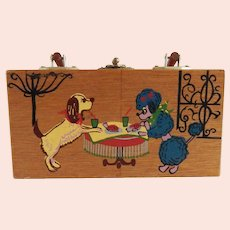 Hand Painted Gary Gail Wood Box Purse with Dogs