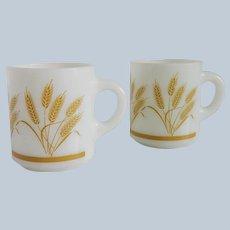 Two Wheat Design Milk Glass Glasbake Mugs