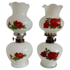 Two Miniature Oil Lamps with Roses