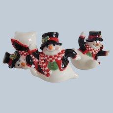 Three Fitz and Floyd Holly Jolly Snowman Figurines