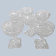 Six Imperial Crystal Cape Cod Sherbets