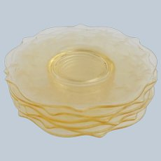 Six Yellow Etched Flower Salad Plates