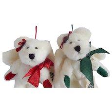 Boyds Charity and Faith Angelbeary Bear Christmas Ornaments