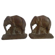A C W Co. Cast Metal  Elephant Bookends