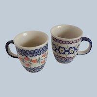 Two Boleslawiec Polish Pottery Mugs
