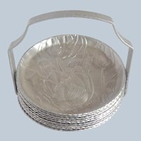 Hammered Aluminum Coasters with Caddy