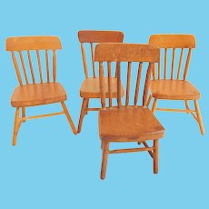 Four Wood Chairs Doll House Furniture