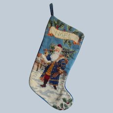 Needlepoint Santa Christmas Stocking
