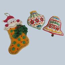 Three Felt Bucilla Christmas Ornaments