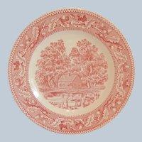 Four Royal China Red / Pink Memory Lane Dinner Plates