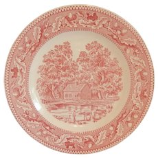 Four Royal China Red / Pink Memory Lane Dinner Plates