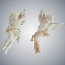 Two  Ceramic Cherubs