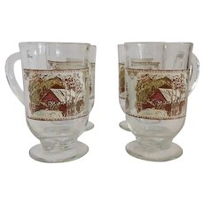 Four Johnson Bros. Friendly Village Glassware Clear Glass Mugs