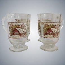 Four Johnson Bros. Friendly Village Glassware Clear Glass Mugs