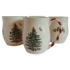 Four Spode Christmas Tree Peppermint Candy Cane Mugs