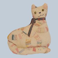 Handcrafted Quilt Cat Pillow