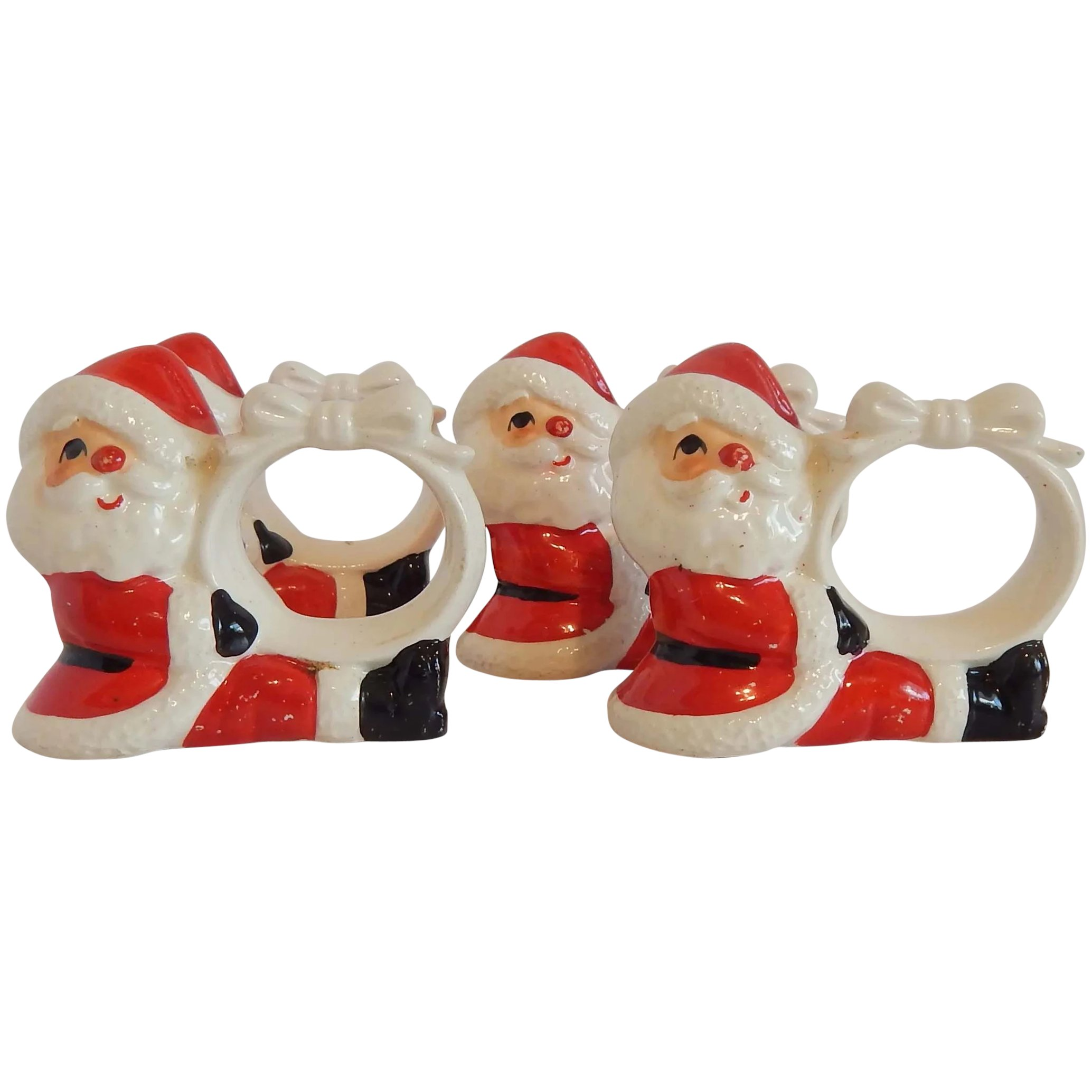 Four Fitz And Floyd Santa Napkin Rings Colemans Collectibles Ruby Lane