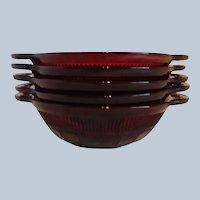 Five Anchor Hocking Coronation Royal Ruby Bowls